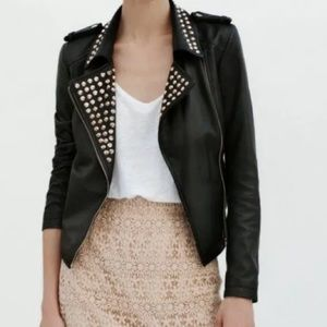 Zara Soft Lambskin Leather Biker Jacket Gold Studs